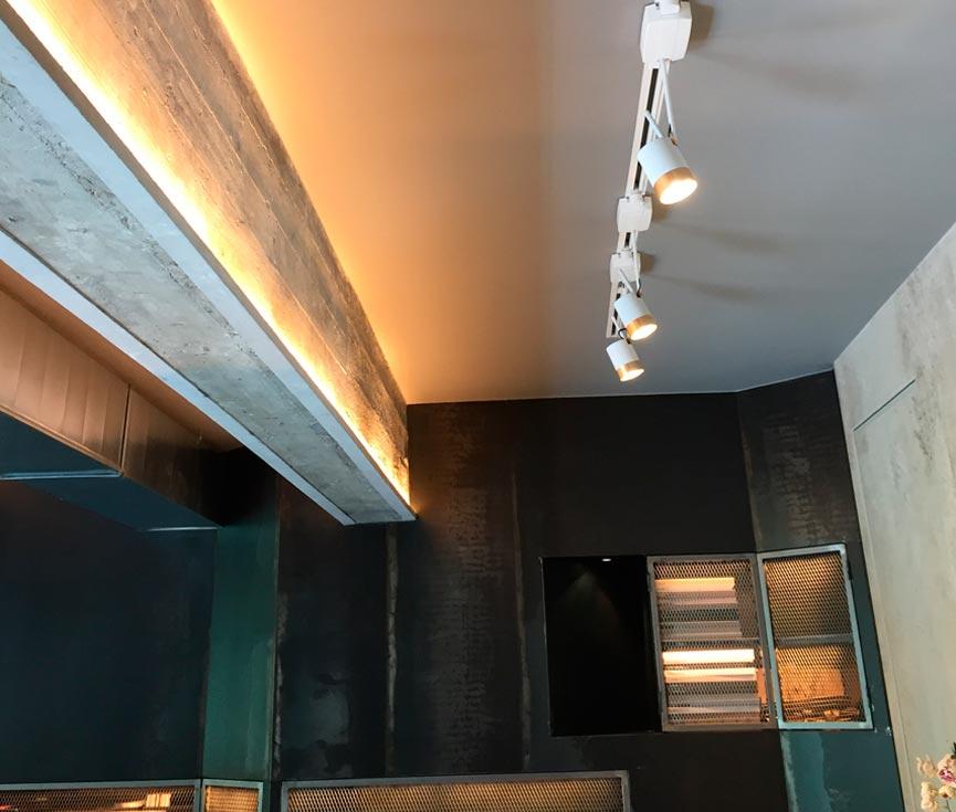 Detalle iluminación vigas proyecto JD7
